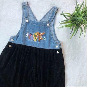 Vintage Winnie The Pooh Jean & Velvet Overall